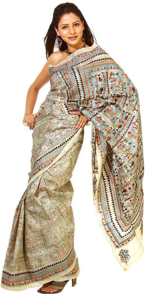 Sari bordado de Kantha