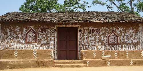 Fachada con mandanas en Jaipur, Rajasthan